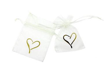 Organza zakjes trouwen ivoor met gouden hartje