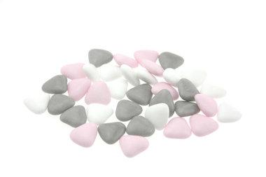 Bruidsuiker hartvormig mini mix wit - roze - grijs