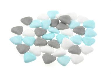 Bruidsuiker hartvormig mini mix wit - grijs - licht blauw