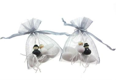 Huwelijksbedankje Bruidspaar gelukspoppetjes