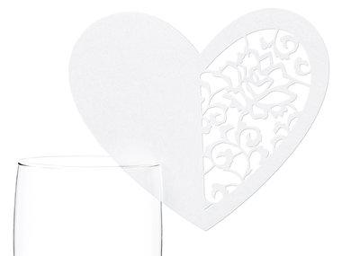 10 stuks Tafel plaats kaartjes voor glas uitgelaserd hart