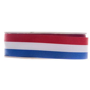 Rood wit blauw lint 25 mm breed