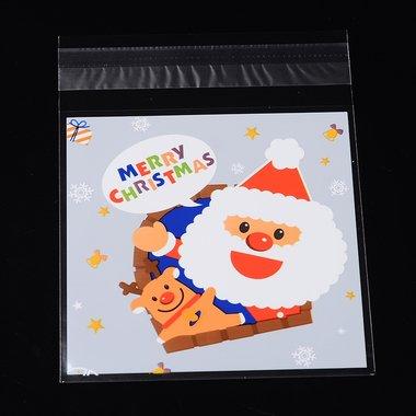 10 cellofaan zakjes met plakstrip kerstman rendier