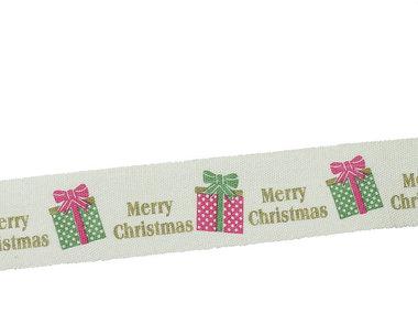 Kerstlint merry christmas en kado 20 mm breed