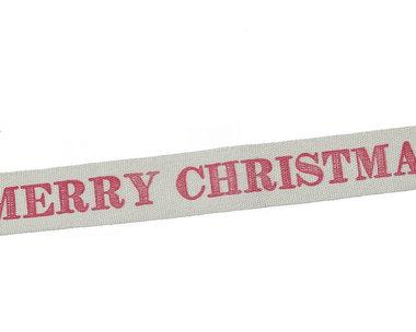 Kerstlint merry christmas en sterretjes 15 mm breed