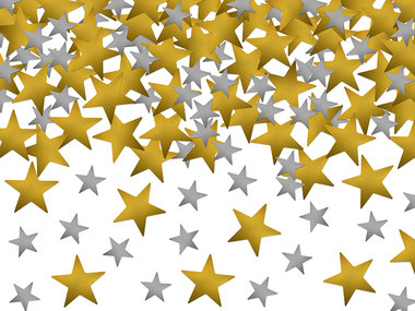 Kerst confetti sterren zilver en goud