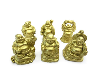 6 Lachende boeddha goud 3 cm
