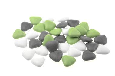 Bruidsuiker hartvormig mini mix wit - groen - grijs