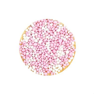 Ronde stickers beschuit met muisjes roze 10 stuks