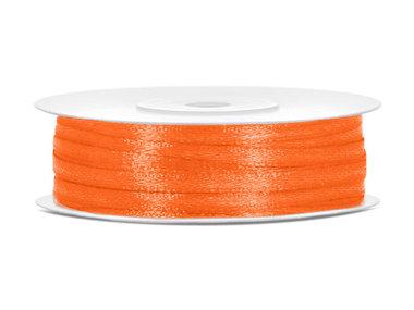 Oranje satijn lint 3 mm breed