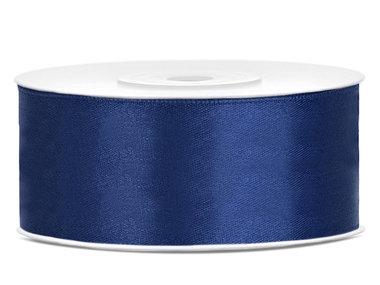 Donker blauw satijn lint 25 mm breed