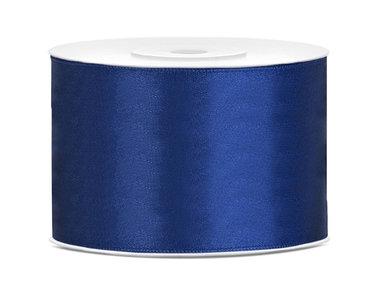 Donker blauw satijn lint 5 cm breed