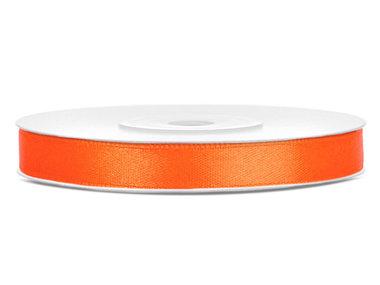 Oranje satijn lint 6 mm breed