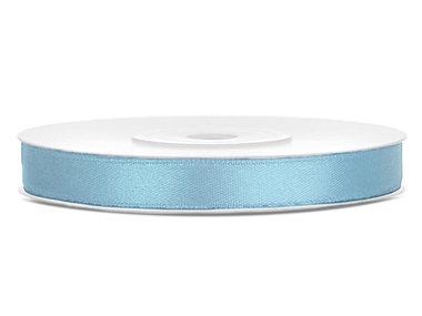 Licht blauw satijn lint 6 mm breed