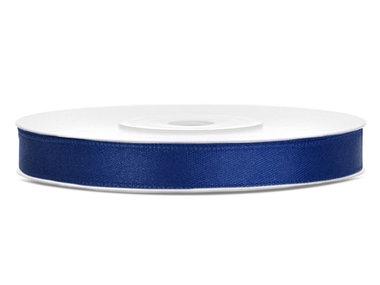 Donker blauw satijn lint 6 mm breed