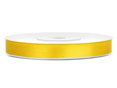 Geel satijn lint 6 mm breed