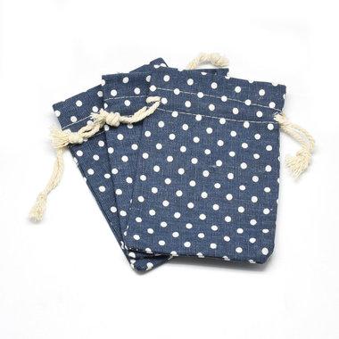 Katoenen zakjes blauw met stipjes