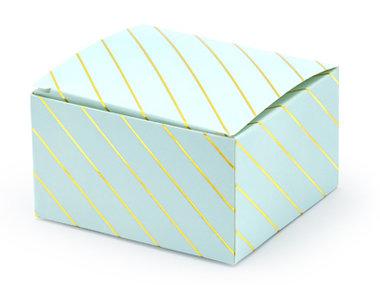 Licht blauw doosje met goud metalic strepen