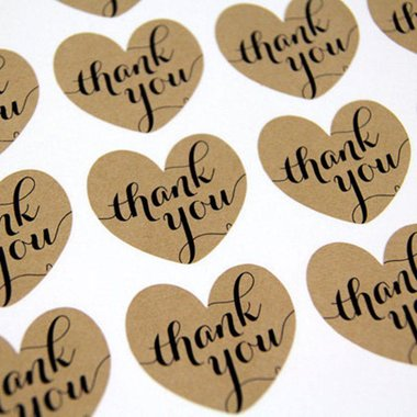 Kraft stickers thank you 12 stuks op vel