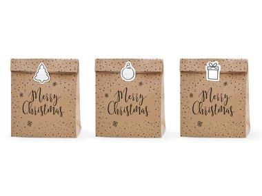 Kerst kraft zakjes merry christmas en sterretjes met stickers 3 stuks