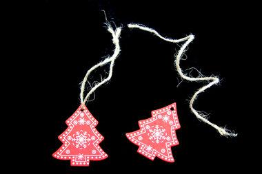 Kersthangers houten kerstboom rood