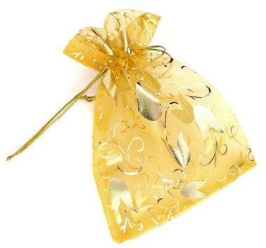 Organza zakjes goud met tulp 9 x 12 cm