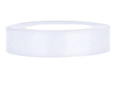 Wit satijn lint 1 cm breed
