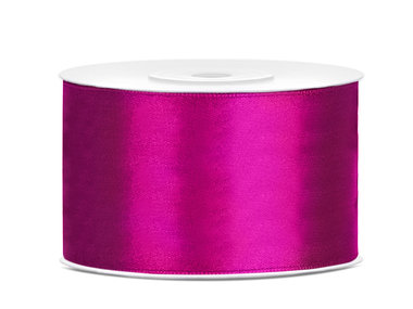 Donker fuchsia satijn lint 38 mm breed