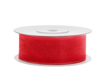 Organza lint 25 mm brandweer rood