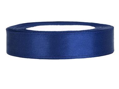 Donker blauw satijn lint 1.5 cm breed