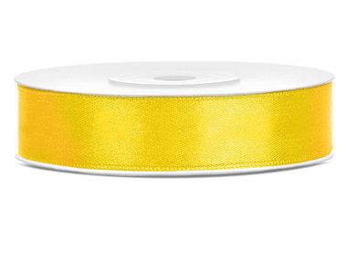 Dubbelzijdig satijn lint 1 cm breed geel