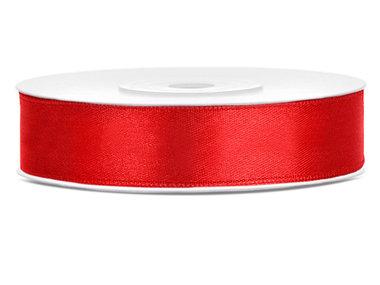 Dubbelzijdig satijn lint 1 cm breed rood