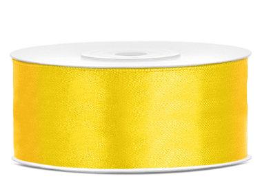 Dubbelzijdig satijn lint 25 mm geel