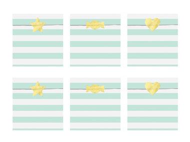 Papieren zakjes gestreept mint met gouden sticker 6 stuks