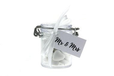 Bedankjes weckpotje bruidsuiker mini hartjes