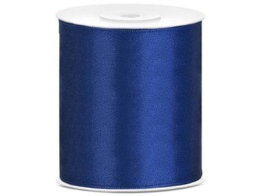 Blauw satijn lint 10 cm breed