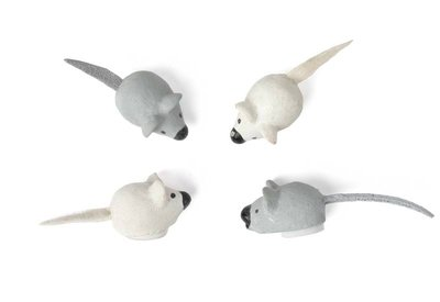 10 plakker muisje wit en grijs