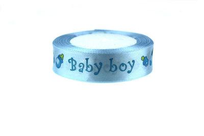 2 cm Satijn lint Baby Boy (speentje-papfles)