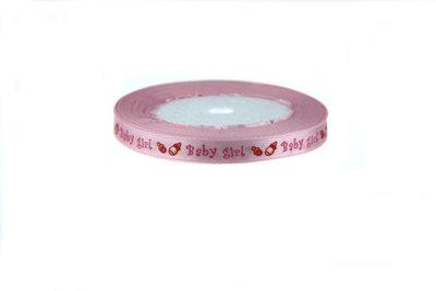 1 cm Satijn lint Baby Girl (speentje-papfles)