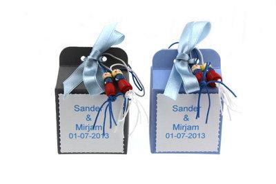 Huwelijksbedankjes kubus doosje met bruidsuiker