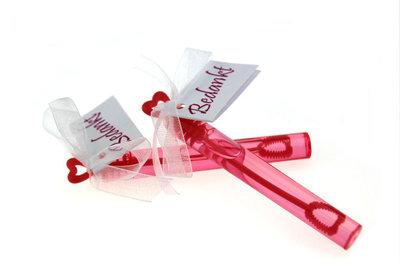 Huwelijksbedankje bellenblaas roze hartje