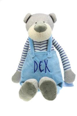 Geboorteknuffel beer met tuinbroek blauw