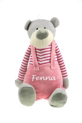 Geboorteknuffel beer met tuinbroek roze