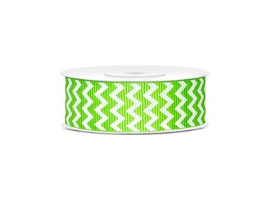 Grosgrain lint 25 mm Lime groen - wit zigzag