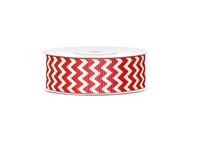 Grosgrain lint 25 mm Rood - wit zigzag