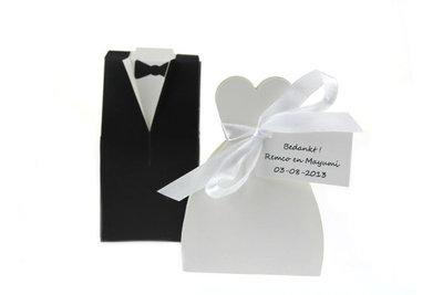 2 st Huwelijksbedankjes Bruidspaar doosjes