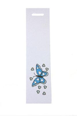 6 Langwerpige labels Vlinder aqua