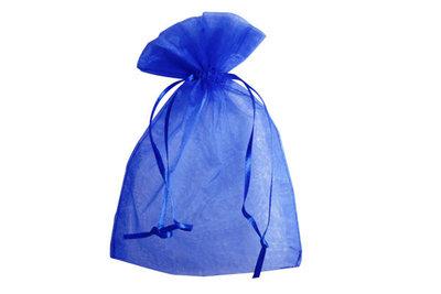 Organza zakje 7,5 x 10 cm Blauw