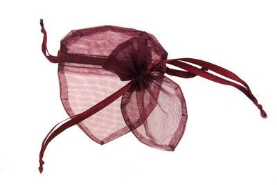 Organza zakje hartvormig Bordeaux rood