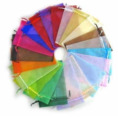 50 stuks 10 x 15 cm organza zakjes kleurenmix